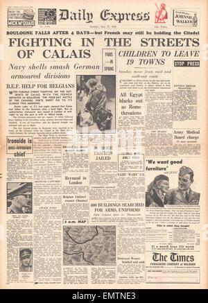 1940 Titelseite Daily Express kämpfen in den Straßen von Calais - Stockfoto