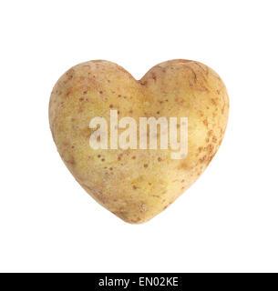 Herzförmige goldene Kartoffel Spud, Studio gedreht, isoliert auf weiss - Stockfoto