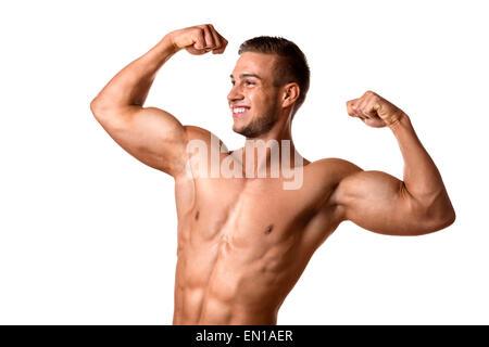Junger Mann mit gut trainierter Körper, Bizeps, abs und