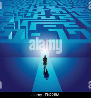 Mann in ein geheimnisvolles Labyrinth. Vektor-illustration - Stockfoto