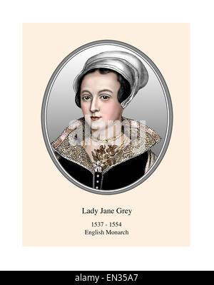 Lady Jane Grey englischen Monarchen 9-tägigen Queen Portrait moderne Illustration - Stockfoto