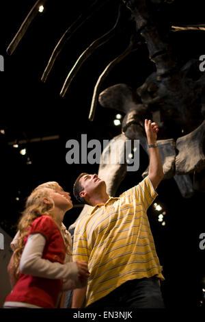 USA, Utah, Lehi, Vater betrachten Dinosaurier mit Kindern (8-11) im museum - Stockfoto