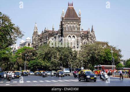 Mumbai Indien Asien Fort Mumbai Mahatma Gandhi Road orientalische Gebäude Verkehr Autos Automobile - Stockfoto