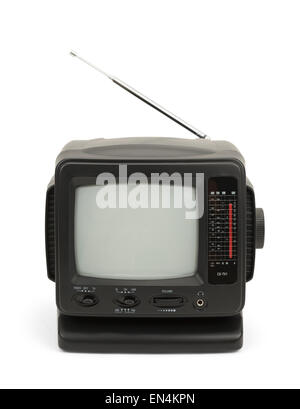 Kleine schwarze TV mit Antenne, Isolated on White Background. - Stockfoto