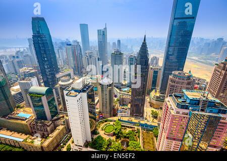 Chongqing, China Wolkenkratzer Stadtbild. - Stockfoto