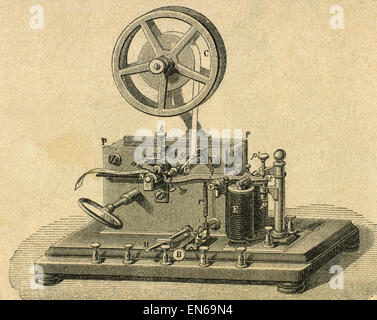 Morse System. Morse-Telegraph-Receiver. Gravur des 19. Jahrhunderts. - Stockfoto