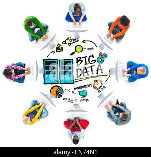 Vielfalt Menschen Big Data Computer verbinden Anteil Konzept - Stockfoto