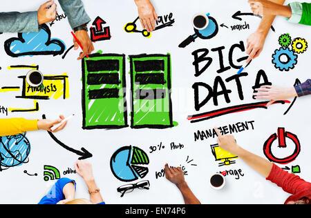 Vielfalt Menschen Big Data arbeiten Teamwork Diskussion Konzept - Stockfoto
