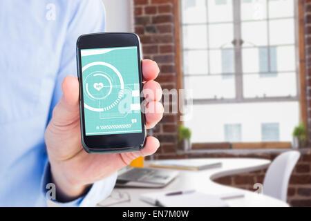 Zusammengesetztes Bild der Geschäftsmann mit seinem Smartphone, Kamera - Stockfoto