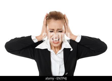 Wütend Geschäftsfrau schreien, Konzept von Insolvenzen - Stockfoto