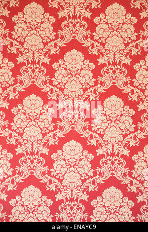 Rote und goldene barock tapete mit floralen ornamenten for Rote tapete