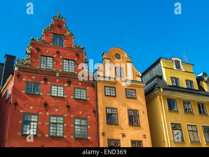 """Gebäude der Stortorget (""""Big Square"""") in Gamla Stan, die Altstadt von Stockholm, Schweden - Stockfoto"""