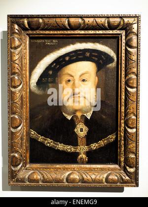 Büste von Henry VIII (1491-1547) über 1536-37, nach Hans Holbein dem jüngeren. Öl auf Holz Museum of London, England - Stockfoto