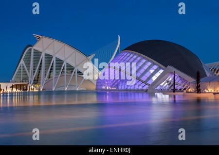 Die Stadt der Künste und Wissenschaften, Wissenschaft Museum Prinz Philip und Hemisferic, Valencia, Spanien - Stockfoto