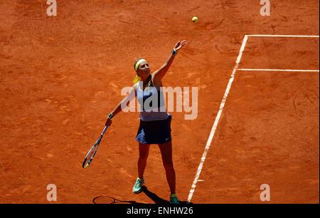 Madrid, Spanien. 6. Mai 2015. Victoria Azarenka in Aktion gegen Serena Williams bei den Mutua Madrid Open, Caja - Stockfoto