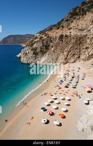 Kaputas Strand in der Nähe von Kalkan, Lykien, Provinz Antalya, Mittelmeerküste, Südwest-Türkei, Anatolien, Türkei, - Stockfoto