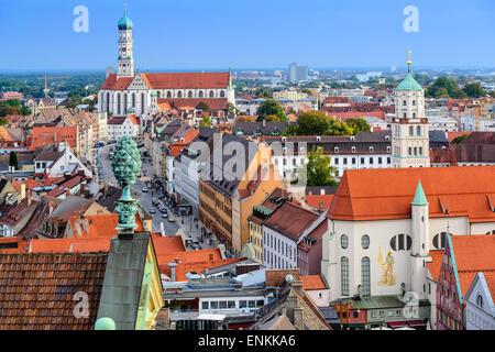 Augsburg, Deutschland, alte Stadt Skyline. - Stockfoto