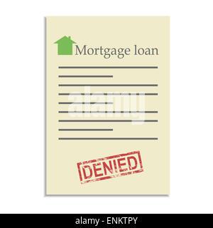 Bank Darlehen Dokument mit verweigert Stempel. Ablehnung in einem ...