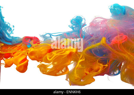 Wolken von leuchtend bunte Farbmischung im Wasser - Stockfoto