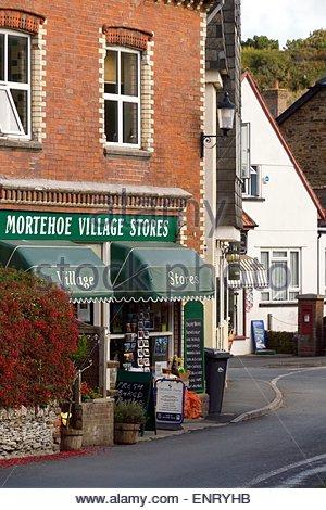 Sonnigen Tag Bild von Mortehoe Dorf in Devon, England, Großbritannien - Stockfoto