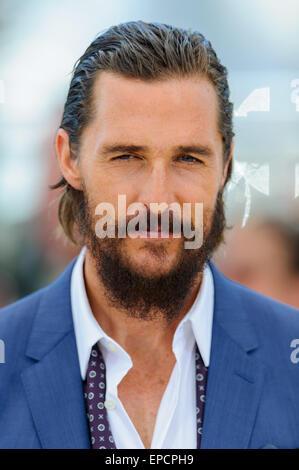 "Cannes, Frankreich. 16. Mai 2015. Matthew McConaughey in der Fototermin für ""The Sea Of Trees"" 68. Cannes Film Festival - Stockfoto"