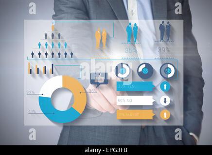 Zusammengesetztes Bild der Geschäftsmann im grauen Anzug zeigen - Stockfoto
