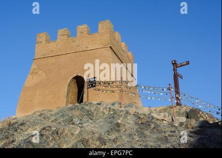 Jiayuguan überhängenden großen Mauer in der Provinz Gansu Teil der Seidenstraße route am westlichen Abschnitt der - Stockfoto
