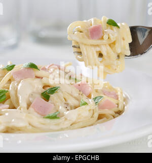 Spaghetti Carbonara Nudeln Pasta Gericht Essen Mit Gabel - Stockfoto