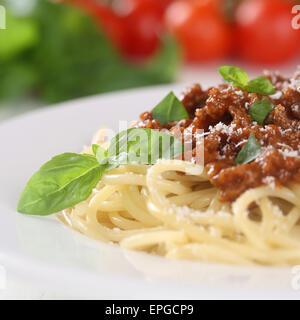 Spaghetti Bolognese Nudeln Pasta Gericht Mit Hackfleisch - Stockfoto