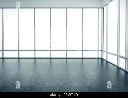 Weiße leere Büroeinrichtung mit großen Fenstern - Stockfoto