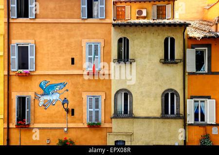 Die fliegenden Esel (1976), der ersten modernen Graffitis über Tor di Nona, Rom, Italien - Stockfoto