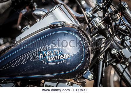 Harley Davidson Schriftzug Auf Dem Tank Eines Motorrades