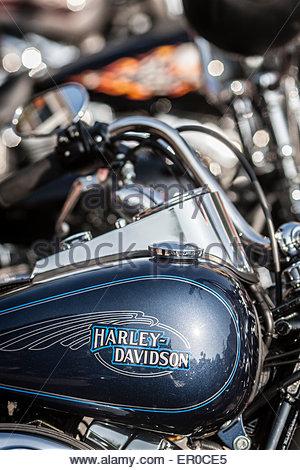 harley davidson schriftzug auf dem tank eines motorrades. Black Bedroom Furniture Sets. Home Design Ideas