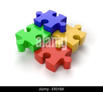 Vier Puzzlestücke auf weißem Hintergrund - Stockfoto