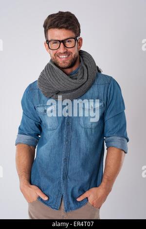 Er weiß, was stylish ist. Debica, Polen - Stockfoto