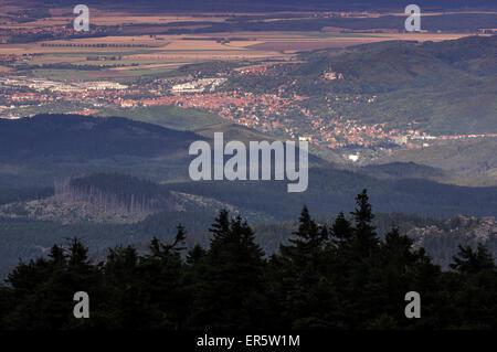 Blick vom Brocken Gipfel, Harz, Sachsen-Anhalt, Deutschland, Europa - Stockfoto