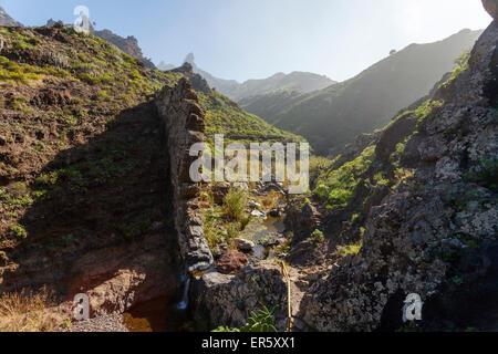 Wasserfall, Barranco de Afur, Canyon in der Nähe von Afur, Las Montanas de Anaga Naturpark Parque Rural de Anaga, - Stockfoto