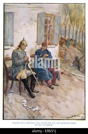 Verzicht auf ein Schloss am Ufer des Flusses Maas, Kaiser Napoleon III ergibt sich Bismarck und später abgesetzt. - Stockfoto