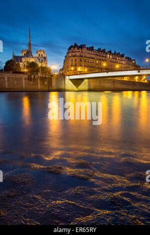 Kathedrale Notre-Dame entlang Seine, Paris, Frankreich - Stockfoto