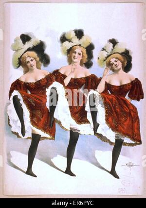 Drei tanzende Frauen in roten Kostümen und Federn. Datum c1899. - Stockfoto