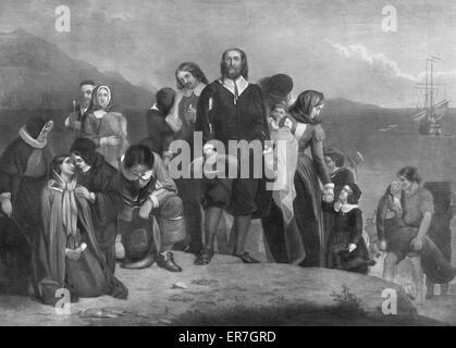 Die Landung der Pilgerväter in Amerika. N. CHR. 1620. - Stockfoto