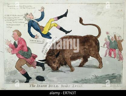 Der irischen Stier brach los. Druck zeigt der irischen Stier wirft William Pitt in die Luft und das gleiche tun, - Stockfoto