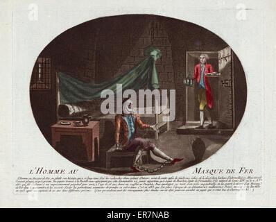 L ' Homme au Masque de Fer. Druck befindet sich ein Gefangener in Ketten und tragen eine eiserne Maske sitzen auf - Stockfoto