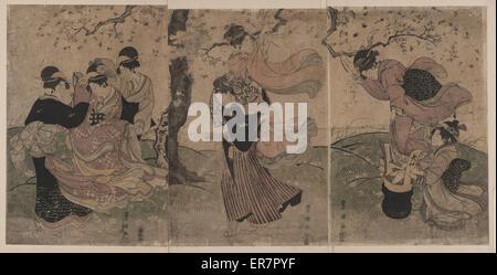Ein Sturm der Blütenblätter. Druck befindet sich auf der linken Seite, zwei Frauen trösten eine dritte Frau in der - Stockfoto