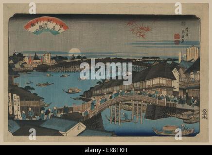 Abendrot am Ryogoku-Brücke. Druck zeigt viele Menschen auf den Straßen der Stadt und über Brücken über Gewässer - Stockfoto