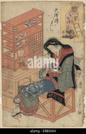 Rasieren einen Mönch den Kopf Daikoku Fukurokujins Kopfes zu rasieren. Drucken Sie zeigt eine Frau lesen, sitzen - Stockfoto