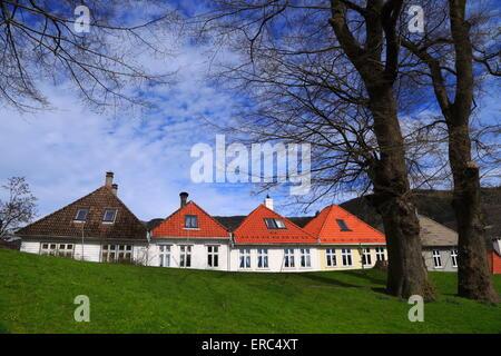 Halb freistehende Gebäude in Nordnes, Bergen, Norwegen - Stockfoto