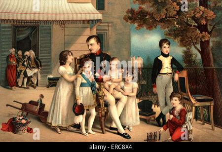 1800S 1810 PORTRAIT VON NAPOLEON I UND SEINE NICHTEN UND NEFFEN AUF TERRASSE VON SAINT-CLOUD VON LOUIS DUCIS - Stockfoto