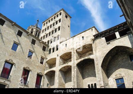 Palau Reial Major (Grand Royal Palace) im Placa del Rei (King es Square) gotischen Viertel, Barcelona, Spanien - Stockfoto