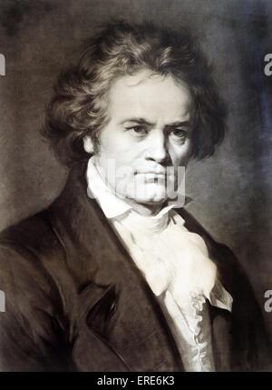 Ludwig van Beethoven, Komponist.   Sepia Foto von Bruckmann nach einem Gemälde von Carl Jäger, 1870. Deutscher Komponist, - Stockfoto